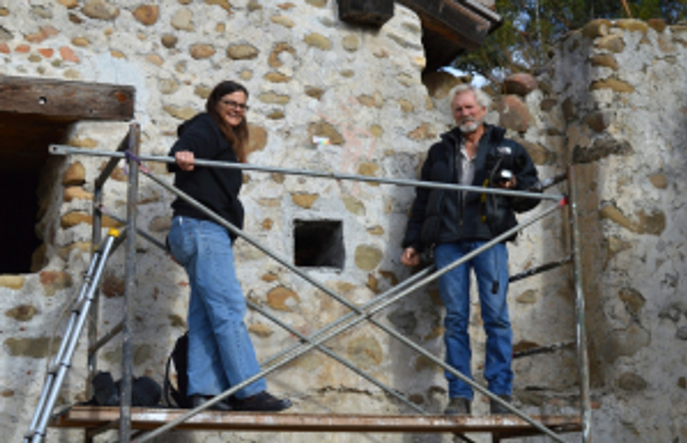 Antoinette and Rick on the scaffolding during fieldwork phase of the project. Photo by Michael Imwalle.
