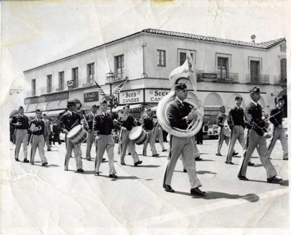 In this photo of the American Legion Band playing on State Street, old friends Jackson Cianfrone and Bruno Mautino are the only two musicians looking at the camera!  Jackson is seconf from the left and Bruno is third from the right. Photo courtesy of Bruno Mautino.
