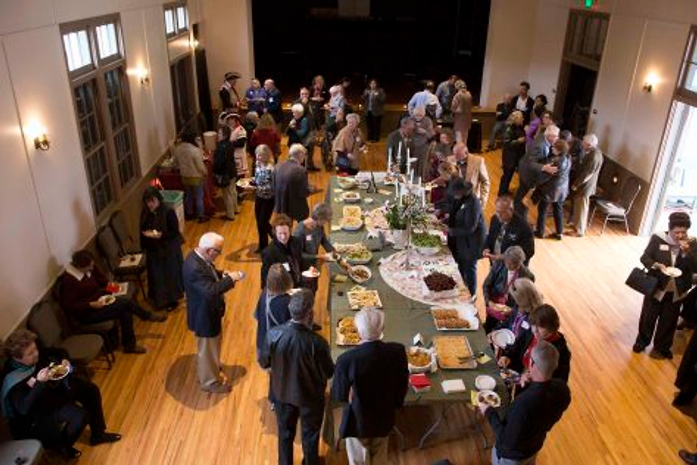 A reception in the Alhecama Theatre followed the meeting and awards ceremony.  Photo by Clint Weisman.