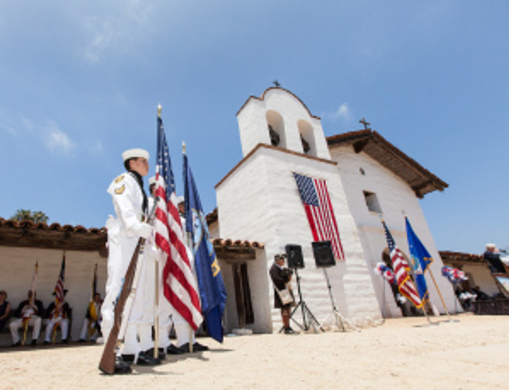 The Presidio Chapel during the Flag Day Event.  Photo by Fritz Olenberger,