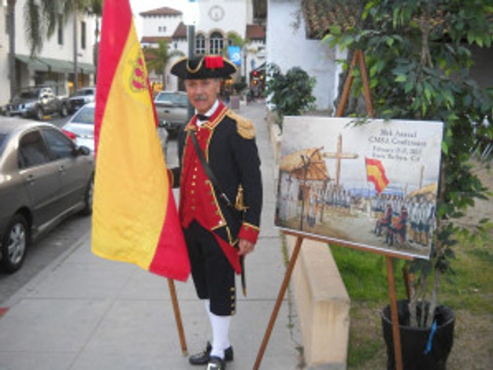 Soldado David Martinez welcoming conference attendees at Casa de la Guerra.