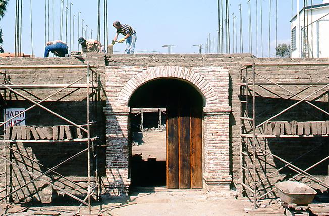 Chapel under construction showing doors