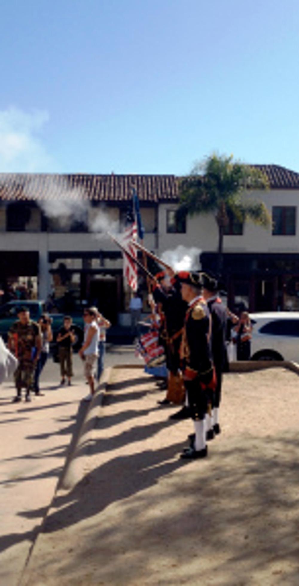 Los Soldados fire muskets. Photo by Brittany Avila.