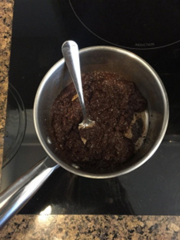 Before adding the dry ingredients, your stove top mixture should be grainy and viscous. photo by Brittany Avila.