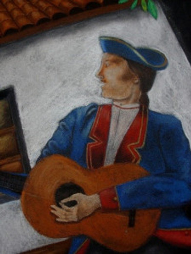 The guitarist was based on depictions of soldados and on the Presidio's living history docents. Photo by Dana Hughes.