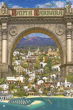 Poster of Santa Barbara's Iconic Buildings