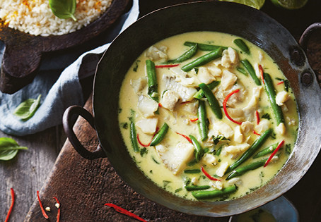 Fish Thai Green Curry and homemade curry paste