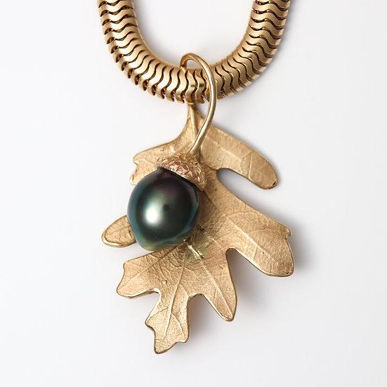 Oak Leaf with Pearl Acorn