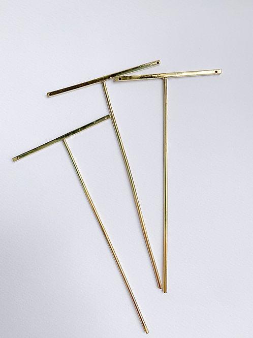 Earring stand -T bar brass