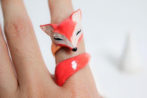 Fox Ring with enamel