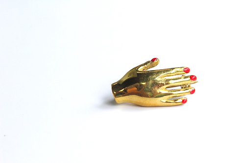 Hand red nails Brooch