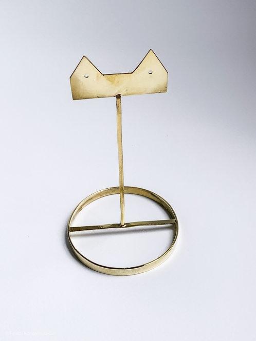 Earring stand - T bar kitty brass