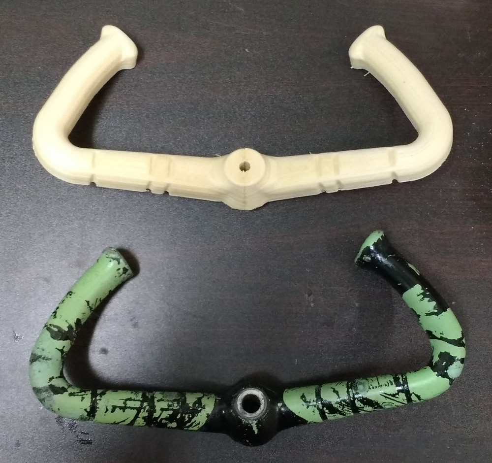 Side by Side of 3D printed DHC-2 control yoke and original