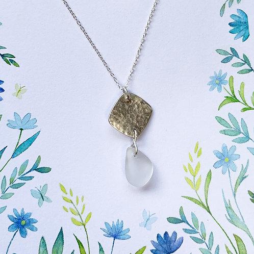 Silver pendant with sea glass