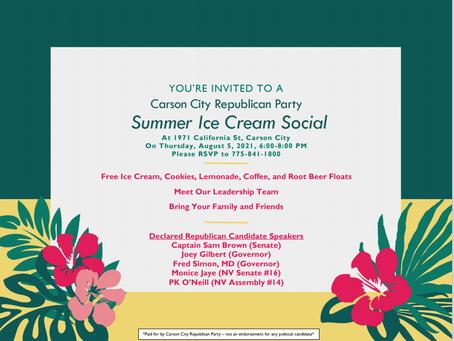 CCRCC Ice Cream Summer Social, August 5th 6:00-8:00 PM