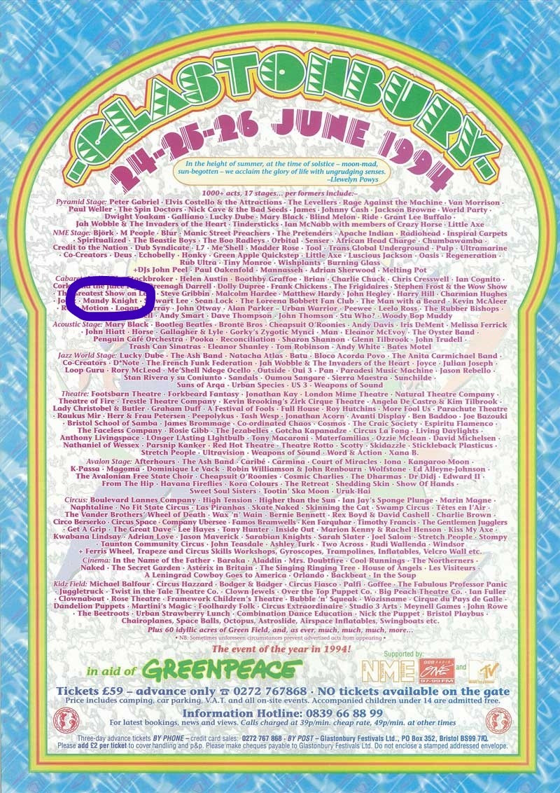 Me, on the line up at Glasto 1994