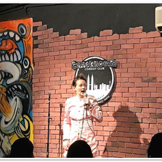 On stage at the Crackhouse Comedy Club, Kuala Lumpur
