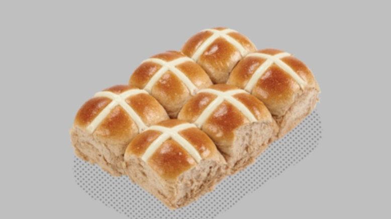 6 Pack Fruitless Hot Cross Buns