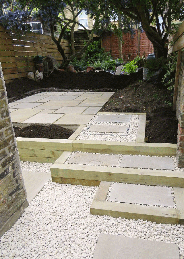 New sandstone patio with sleepers