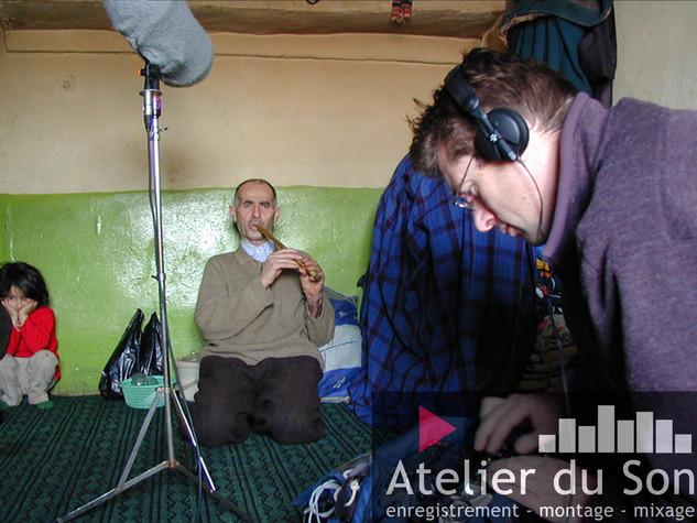en Iran, enregistrement d'un berger pour