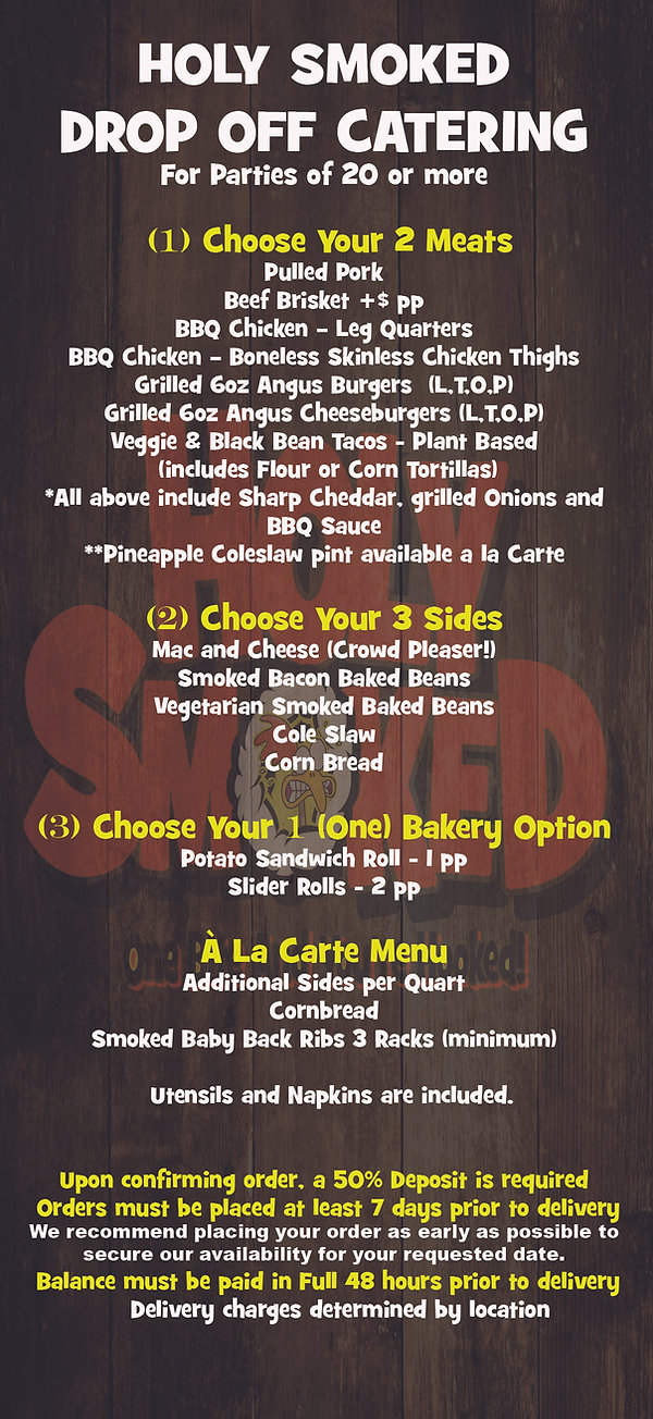 Barbecue Drop Off Catering Package Menu