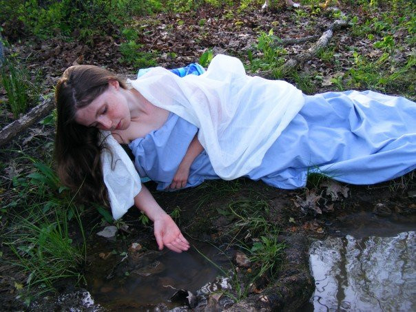 Stream in the back woods, diy sheet dress