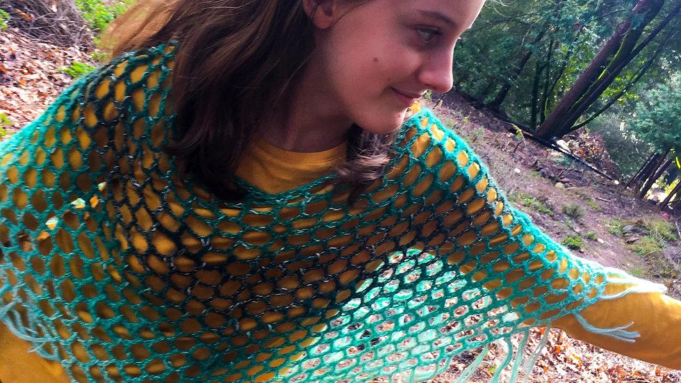 Crocheted Mesh Poncho