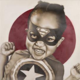 "Super Hero Norah 16""x16"" oil and encaustic wax on panel"