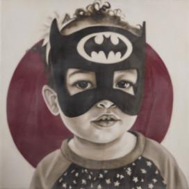 "Super Hero Zoe Bean 16""x16"" oil and encaustic wax on panel"