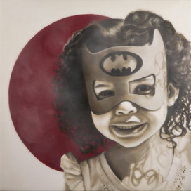 """Super Hero Ava 16""""x16"""" oil and encaustic wax on panel"""