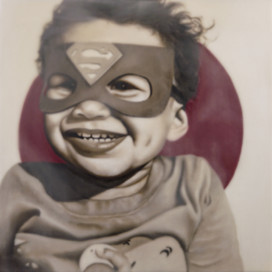 """Super Hero Oliver 16""""x16"""" oil and encaustic wax on panel"""