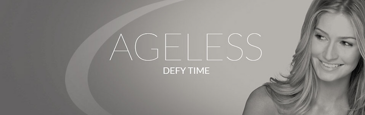 Ageless range banner, image skincare