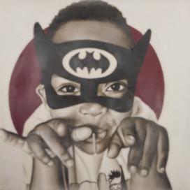 "Super Hero Jelan 16""x16"" oil and encaustic wax on panel"