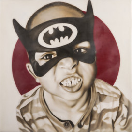 """Super Hero Sammy 16""""x16"""" oil and encaustic wax on panel"""