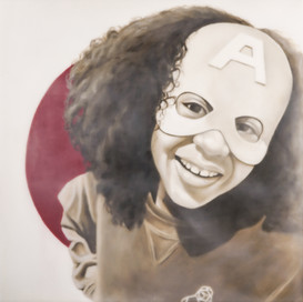 """Super Hero Kailah Grace 16""""x16"""" oil and encaustic wax on panel"""