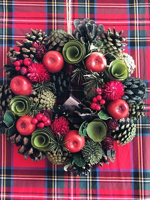 Ghirlanda Merry Christmas rosso e verde