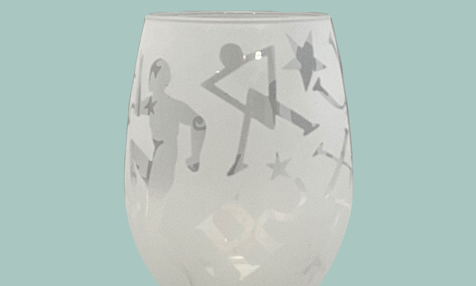 Etched Wine Glass - Stemless