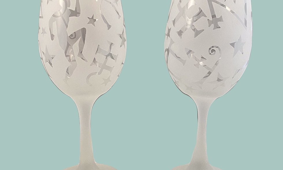 Etched Wine Glass - Stemmed
