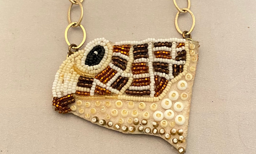 Bead Embroidery  Necklace  - turtle head