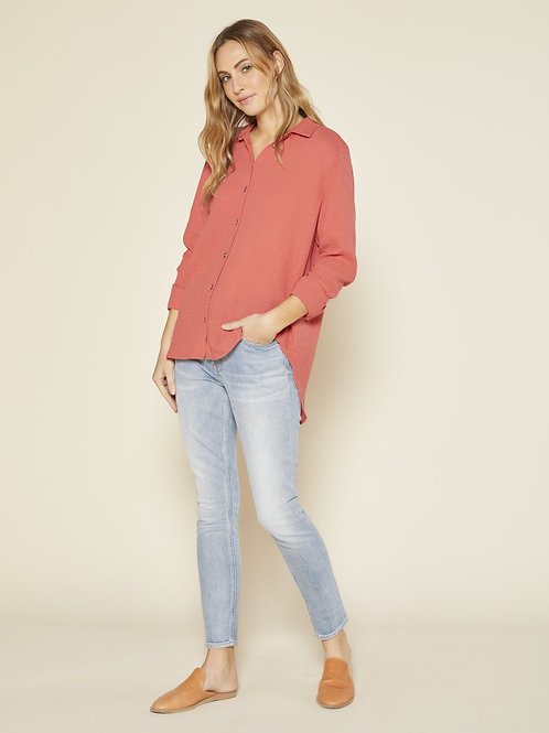 Shirt (LS Button Down-Coral)