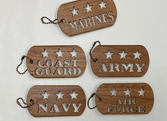 WOOD MILITARY KEY CHAINS