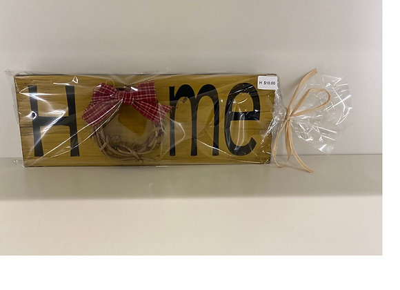 HOME SIGN GOLD & VINE WREATH