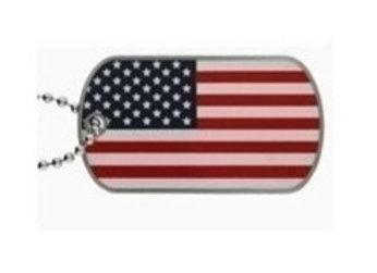 USA FLAG DOGTAG WITH CHAIN