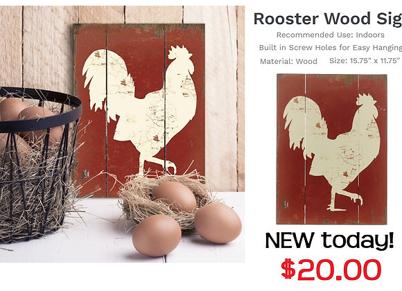 WOOD ROOSTER SIGN
