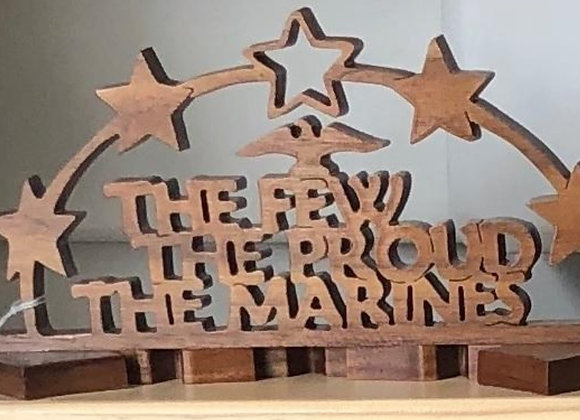 MARINES WOOD FREE STANDNG ART