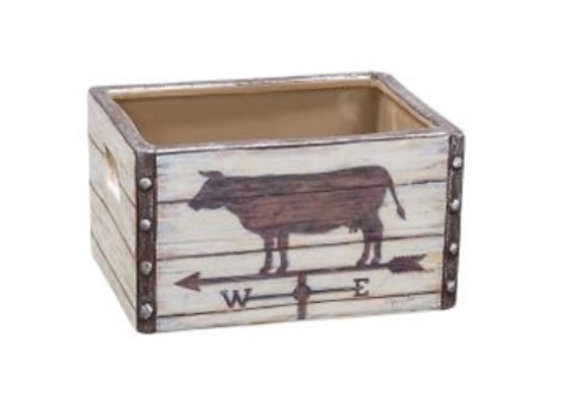 WEATHERVANE CERAMIC COW CRATE