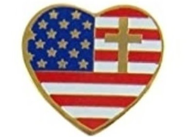 FLAG HEART CROSS PIN