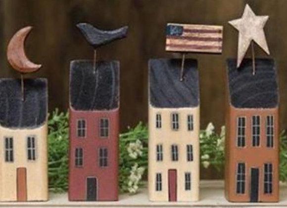 PRIMITIVE HOUSE SET OF 4 SHELF SITTERS