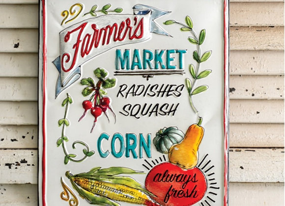 COLORFUL METAL FARMERS MARKET SIGN