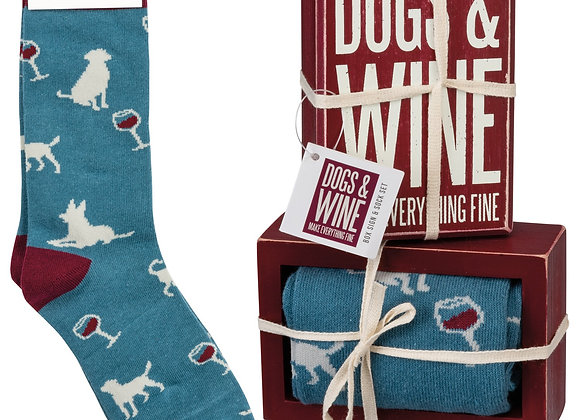 DOG & WINE SOCKS GIFT SET